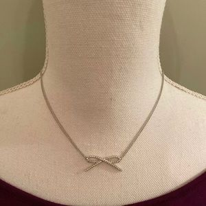 14K White Gold Diamond Bow Double Strand Necklace